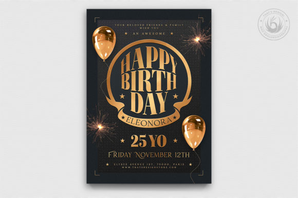 Download Free Birthday Party Flyer Template V2 Graphic By Thatsdesignstore for Cricut Explore, Silhouette and other cutting machines.
