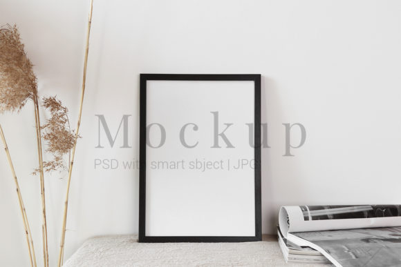 Print on Demand: Black Frame Mockup with Journal Graphic Product Mockups By PawMockup