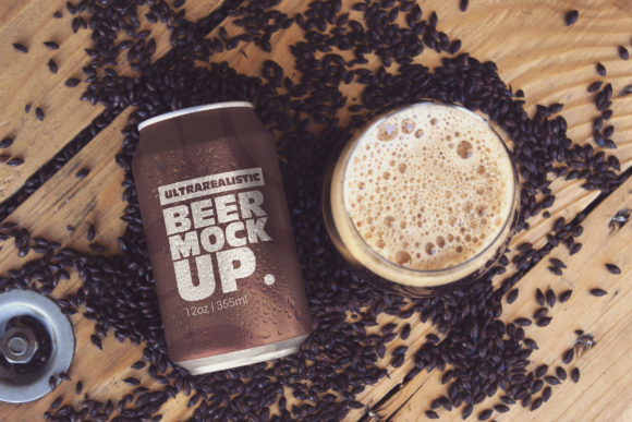 Black Malt Can & Cup Mockup Graphic Product Mockups By SmartDesigns