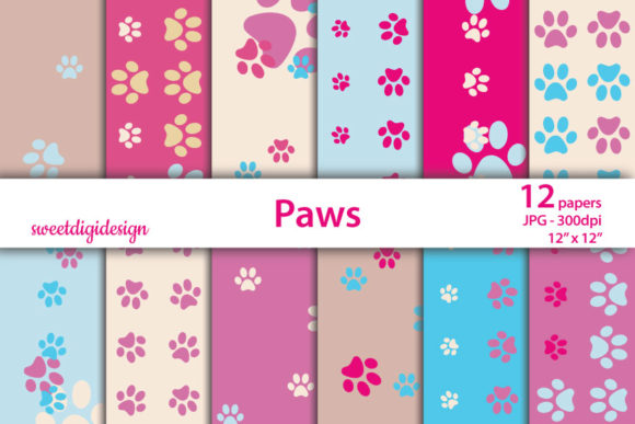 Download Free Blue And Pink Paws Seamless Patterns Graphic By Sweetdigidesign for Cricut Explore, Silhouette and other cutting machines.