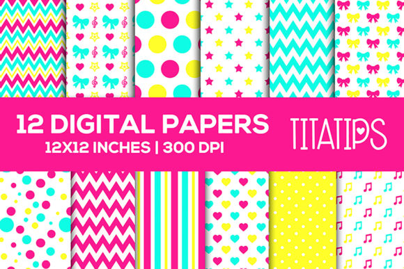 Download Free Bright Digital Paper Scrapbooking Set Grafico Por Titatips for Cricut Explore, Silhouette and other cutting machines.