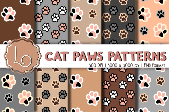 Print on Demand: Cat Paws Patterns Graphic Patterns By La Oliveira