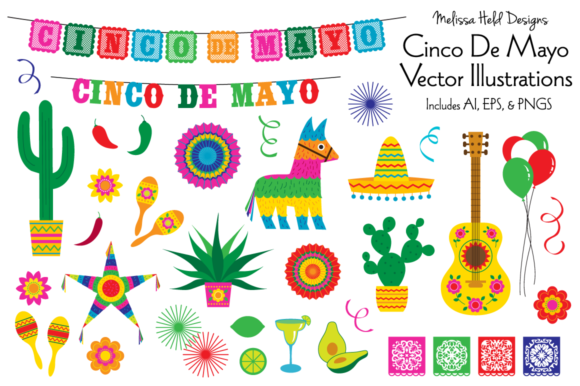 Download Free Cinco De Mayo Vector Illustrations Graphic By Melissa Held for Cricut Explore, Silhouette and other cutting machines.