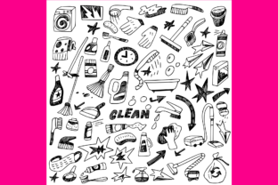 Download Free Cleaning Tools Doodles 1 Graphic By Anrasoft Creative Fabrica for Cricut Explore, Silhouette and other cutting machines.