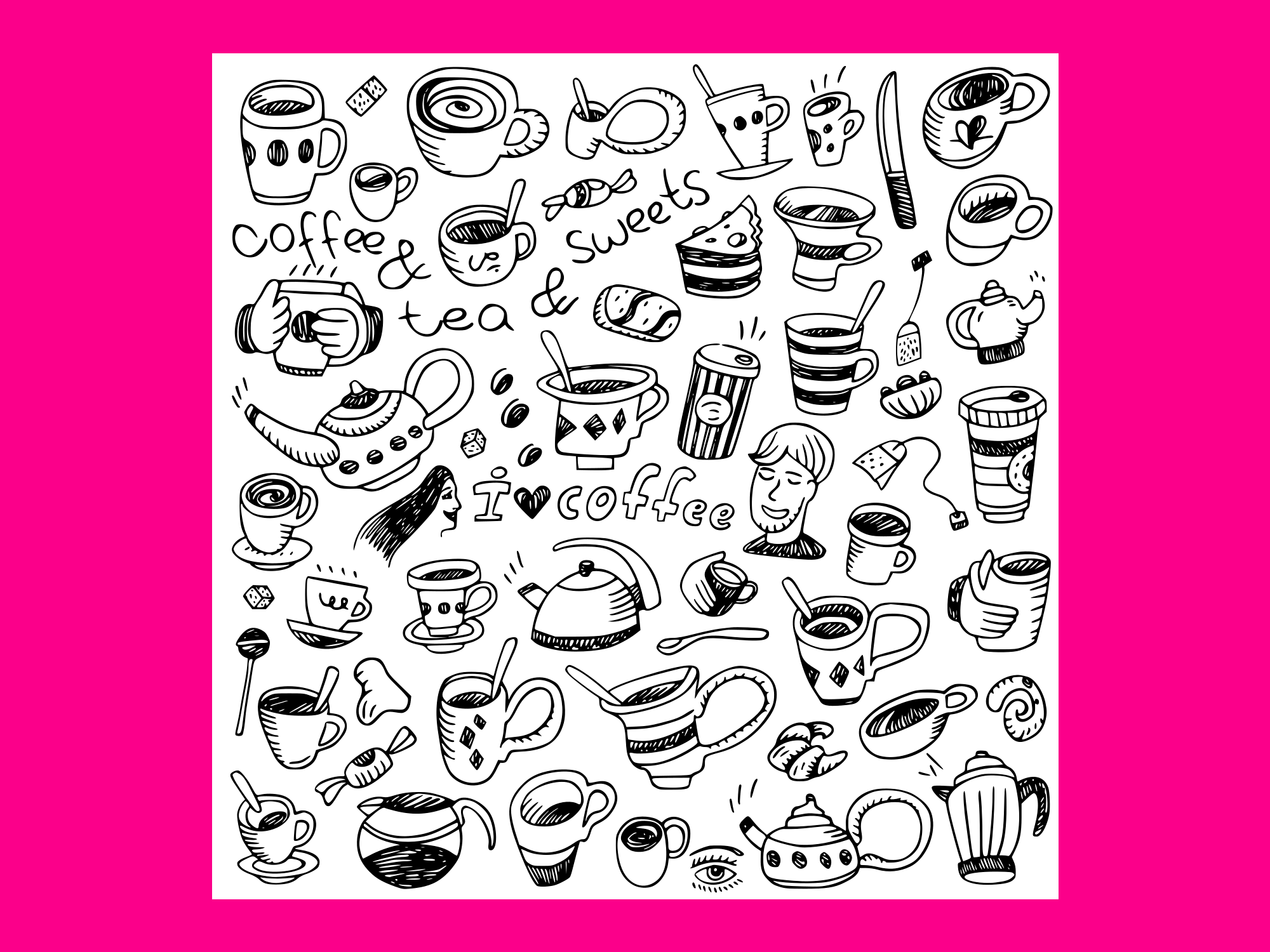 Download Free Coffee Cups Doodles 2 Graphic By Anrasoft Creative Fabrica for Cricut Explore, Silhouette and other cutting machines.