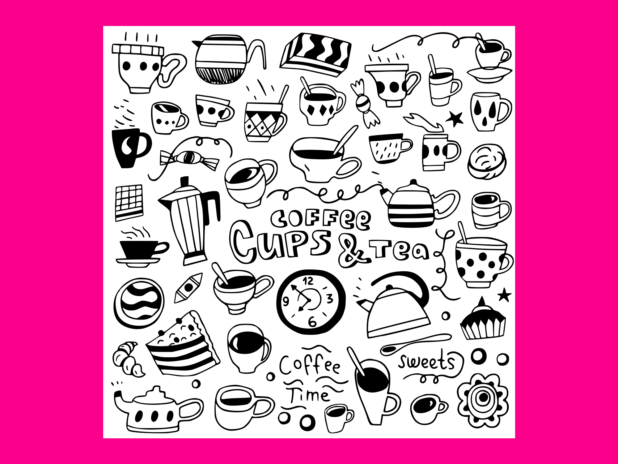 Download Free Coffee Cups Doodles 1 Graphic By Anrasoft Creative Fabrica for Cricut Explore, Silhouette and other cutting machines.