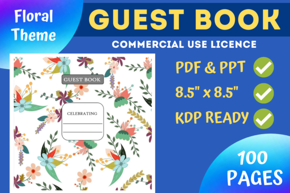 Print on Demand: Color Floral Guest Book | KDP Interior Graphic KDP Interiors By Mastery Templates