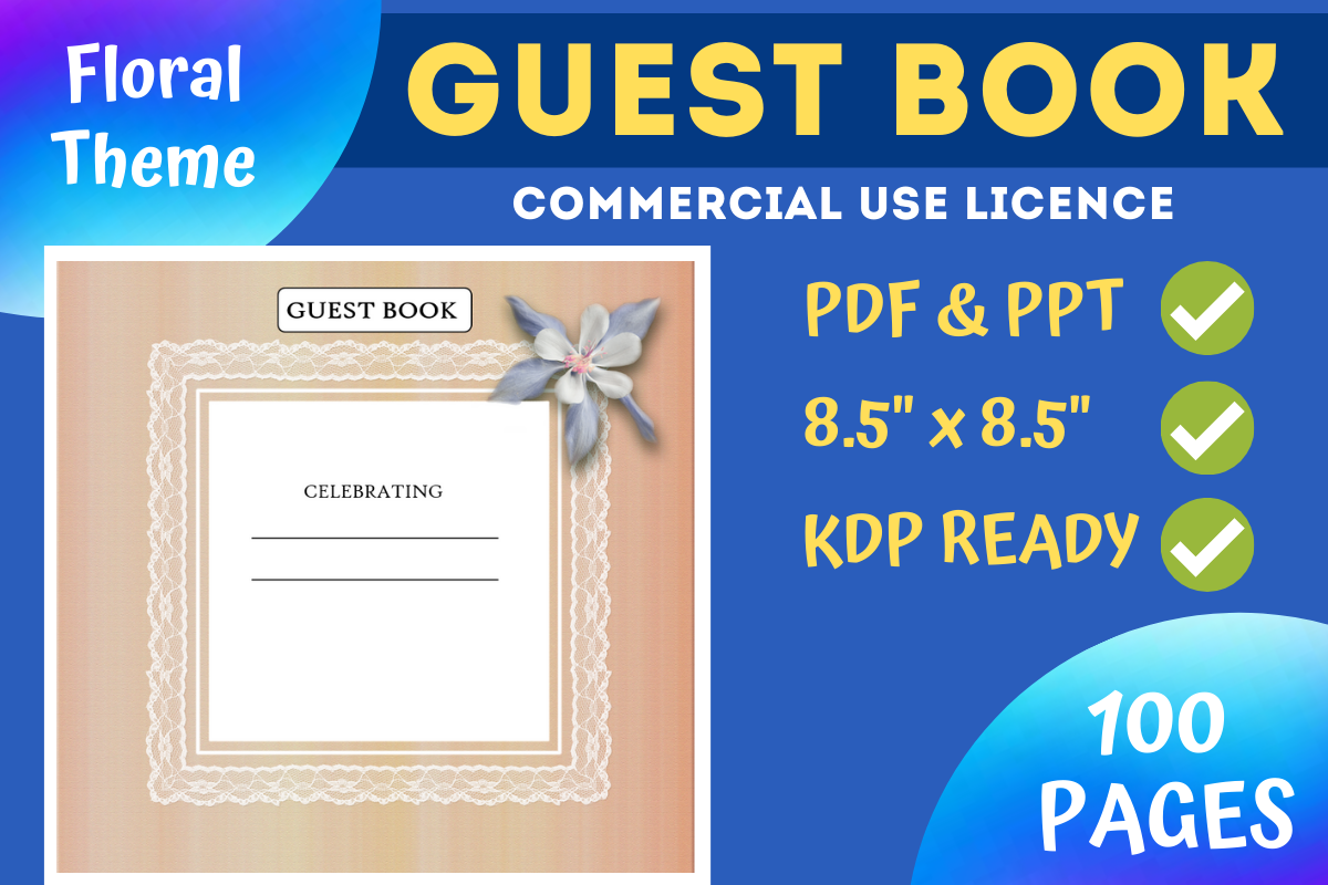 Download Free Color Floral Guest Book Kdp Interior Graphic By Mastery for Cricut Explore, Silhouette and other cutting machines.