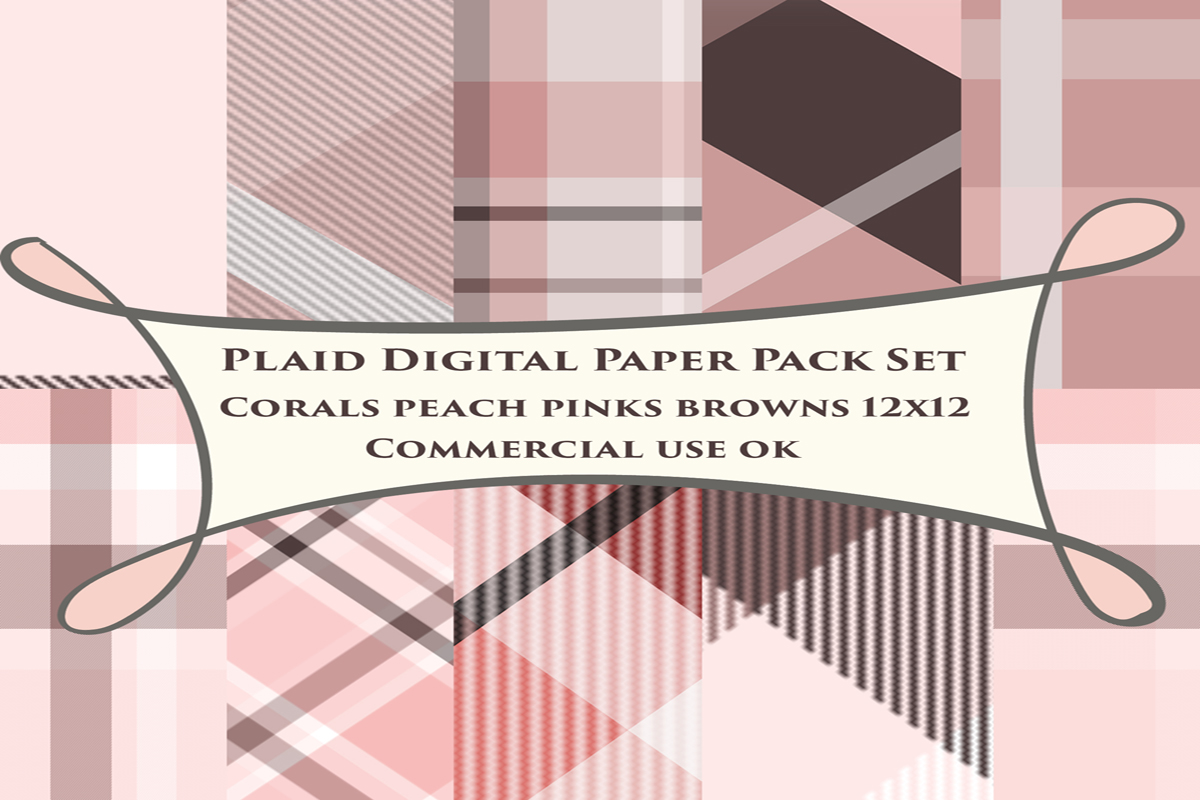 Download Free Coral Plaid Backgrounds Graphic By A Design In Time Creative for Cricut Explore, Silhouette and other cutting machines.