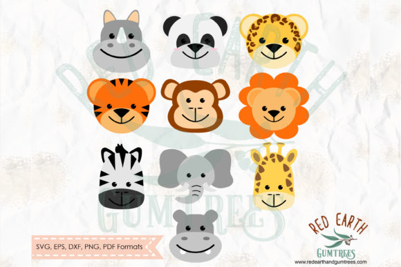 Cute Baby Animals Safari Theme in SVG Gráfico Crafts Por redearth and gumtrees