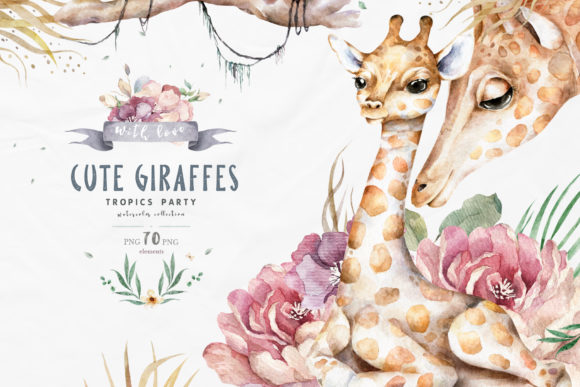 Cute Giraffes Watercolor Tropic Graphic Illustrations By AnnArtHouze