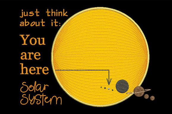 Print on Demand: Cute Solar System Applique with Quote Inspirational Embroidery Design By Embroidery Shelter