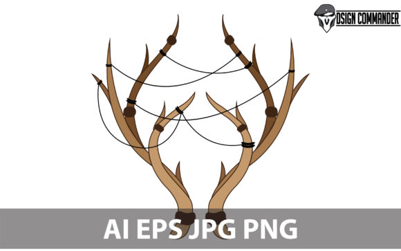 Print on Demand: Deer Antlers Vector Graphic Illustrations By designcommander62