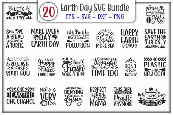 Download Free Earth Day Design Bundle Graphic By Graphicsbooth Creative Fabrica for Cricut Explore, Silhouette and other cutting machines.