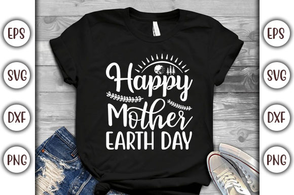 Print on Demand: Earth Day Design, Happy Mother Earth Graphic Print Templates By GraphicsBooth