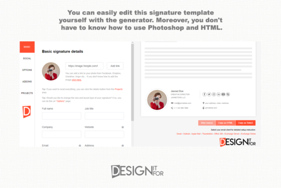 Download Free Editable Email Signature Template Grafico Por Designitfor for Cricut Explore, Silhouette and other cutting machines.