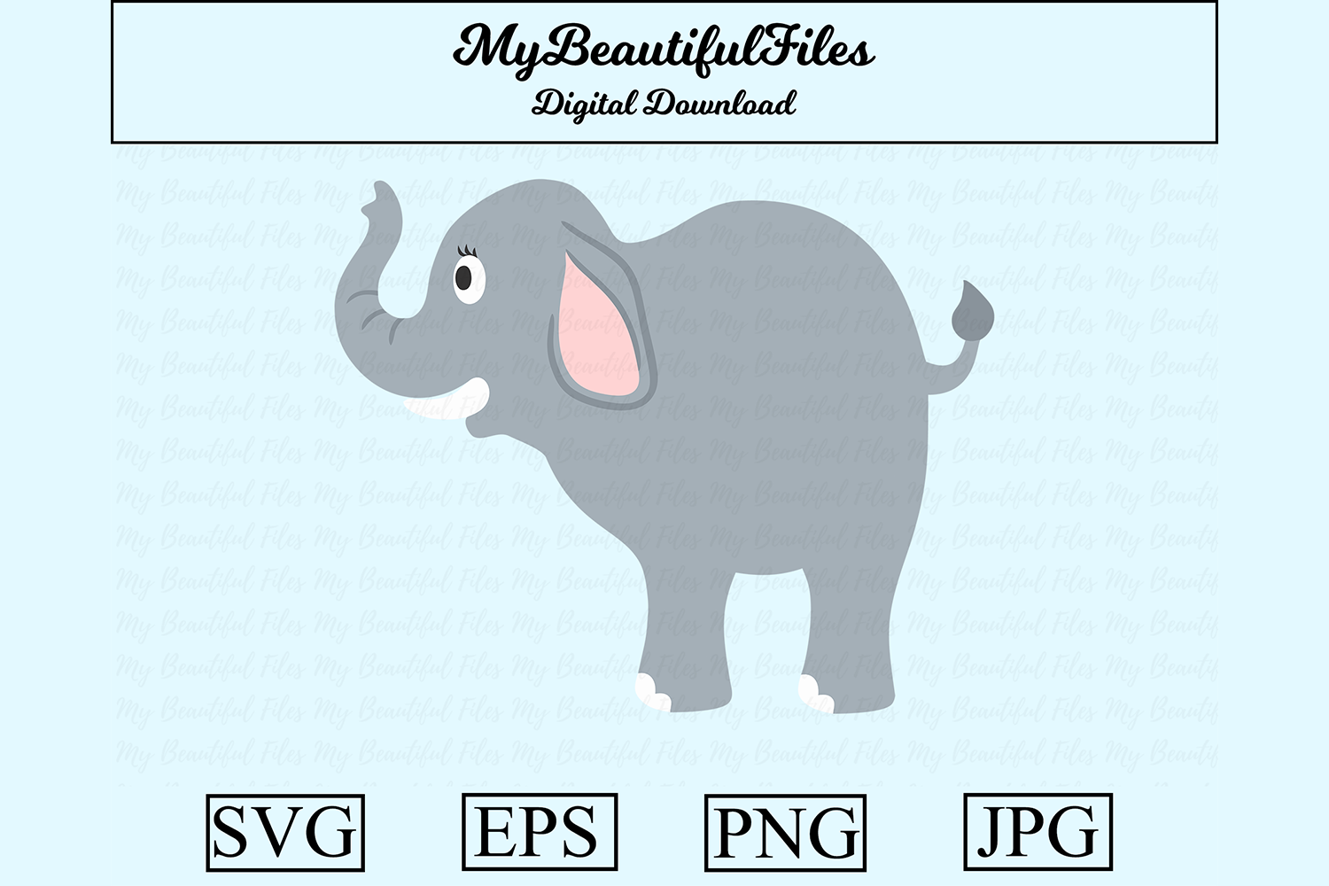 Download Free Elephant Clipart Graphic By Mybeautifulfiles Creative Fabrica for Cricut Explore, Silhouette and other cutting machines.