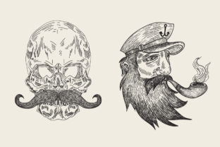 Print on Demand: Engraving Skull and Piratte Mustache Graphic Crafts By Rimbu Creative