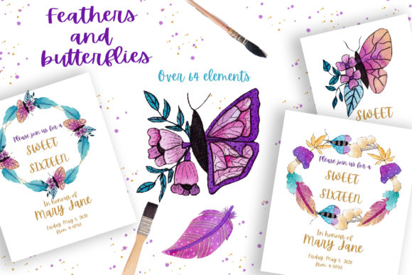 Print on Demand: Feathers and Butterflies Collection Gráfico Ilustraciones Por Andreea Eremia Design