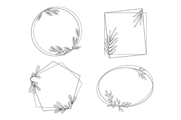 Floral Frames in Outline Style Graphic Crafts By Aghadhia Studio