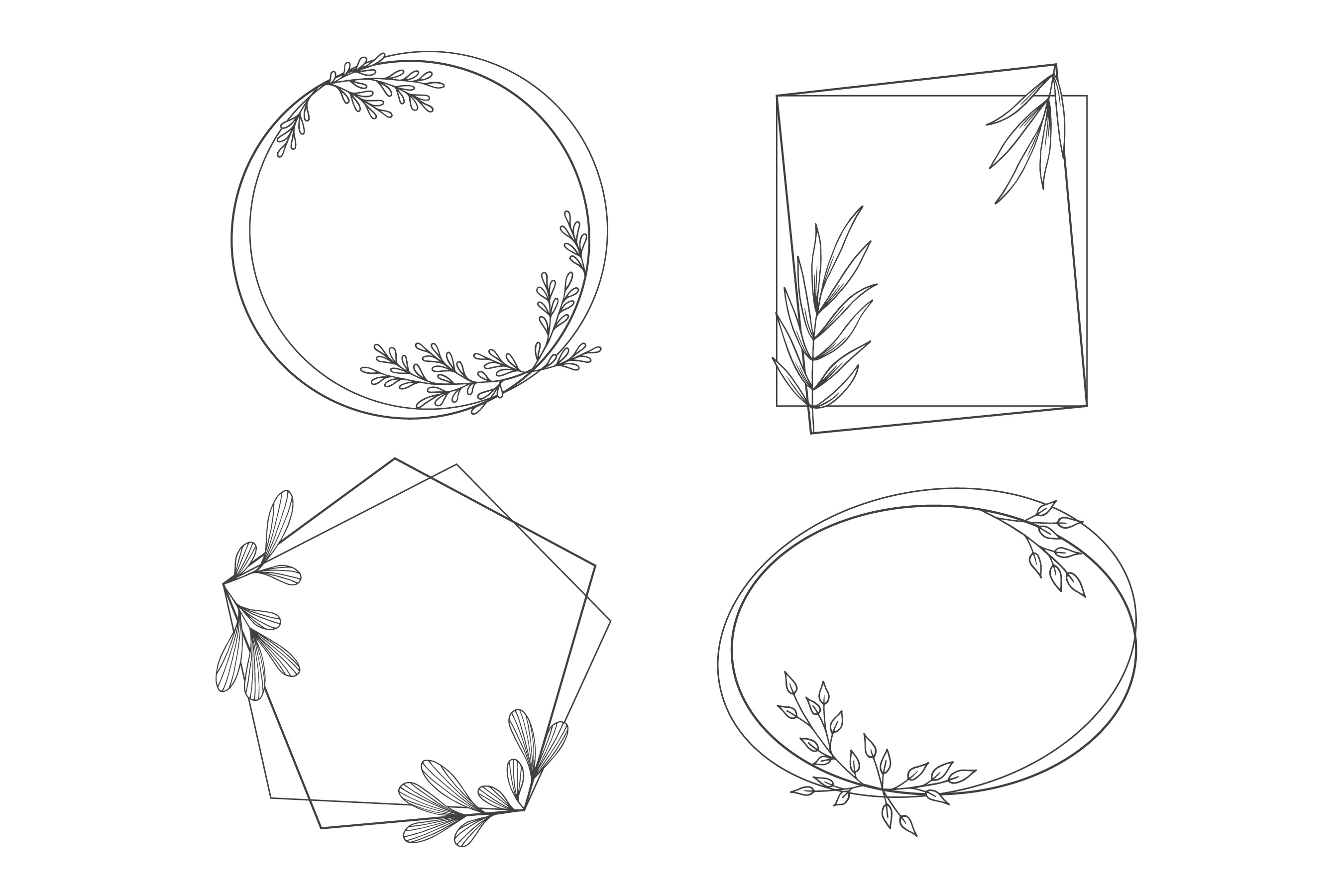 Download Free Floral Frames In Outline Style Graphic By Aghadhia Studio for Cricut Explore, Silhouette and other cutting machines.