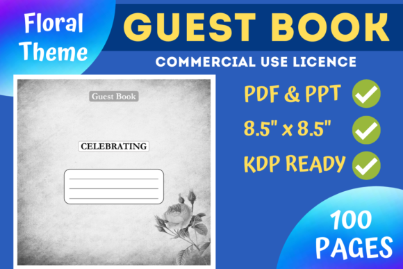 Print on Demand: Floral Guest Book | KDP Interior Graphic KDP Interiors By Mastery Templates