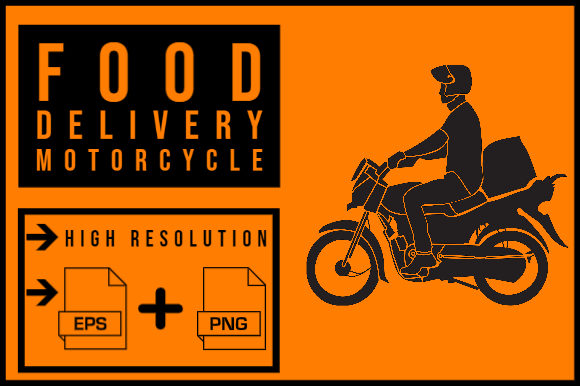 Print on Demand: Food Delivery Motorcycle Graphic Graphic Print Templates By smnlbr34