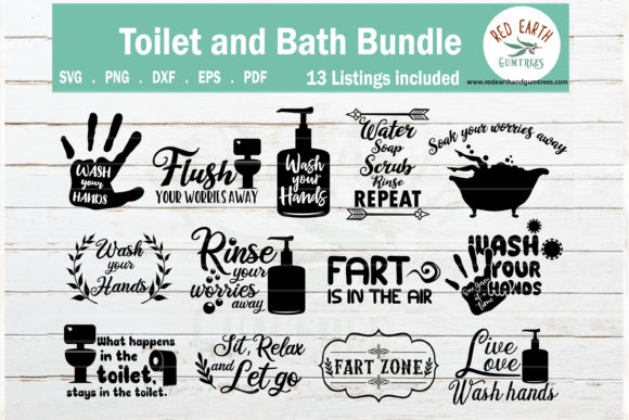 Funny Bathroom and Toilet Quotes Bundle Graphic Crafts By redearth and gumtrees
