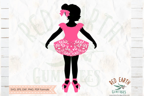 Download Free Girl Ballerina In Swirly Pink Skirt Svg Graphic By Redearth And for Cricut Explore, Silhouette and other cutting machines.