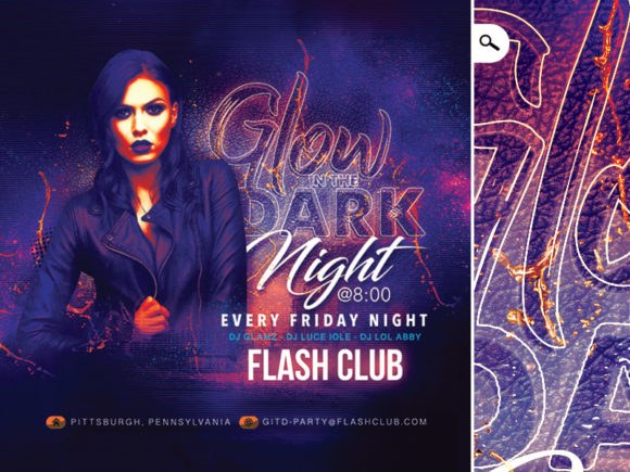 Glow in the Dark Party Flyer Graphic Print Templates By n2n44.studio