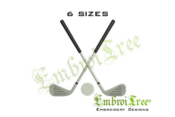 Golf Clubs Sports Embroidery Design By EmbroiTree