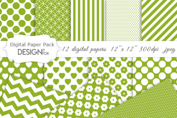 Print on Demand: Green and White Digital Paper Pack Graphic Textures By DesignItfor