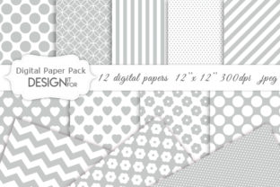 Print on Demand: Grey and White Digital Paper Pack Graphic Textures By DesignItfor