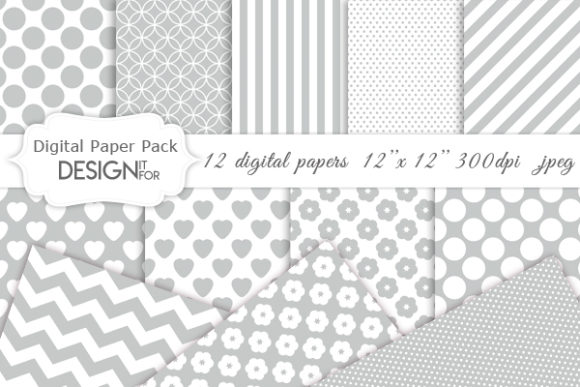 Download Free Grey And White Digital Paper Pack Graphic By Designitfor for Cricut Explore, Silhouette and other cutting machines.