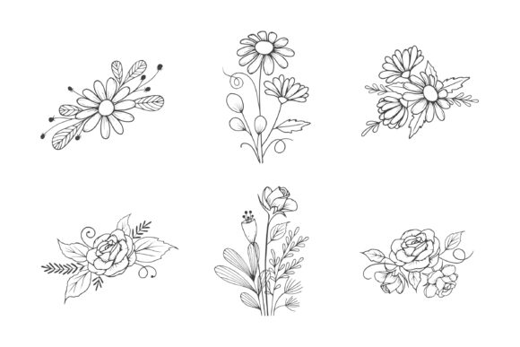 Download Free Hand Drawn Flower Bouquet Collection Graphic By Aghadhia Studio for Cricut Explore, Silhouette and other cutting machines.