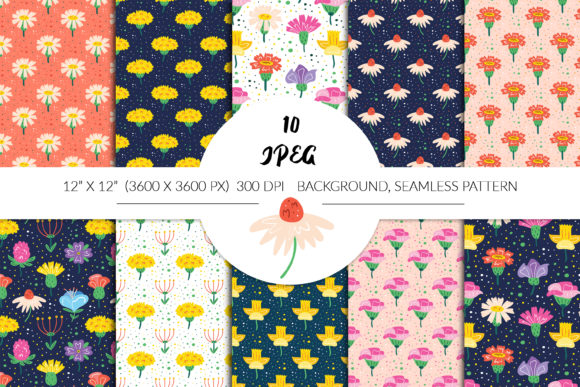 Print on Demand: Hand Drawn Vector Floral Seamless Patter Graphic Patterns By FoxBiz