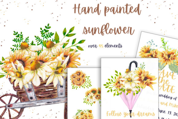 Download Free Hand Painted Sunflower Collection Graphic By Andreea Eremia for Cricut Explore, Silhouette and other cutting machines.
