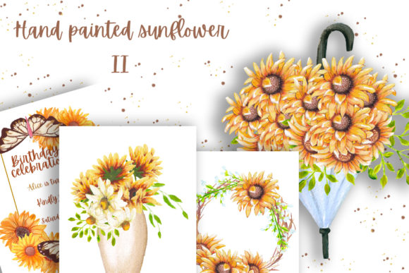 Print on Demand: Hand Painted Sunflower Collection II Grafik Illustrationen von Andreea Eremia Design