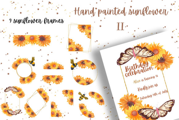 Hand Painted Sunflower Collection II Graphic Download