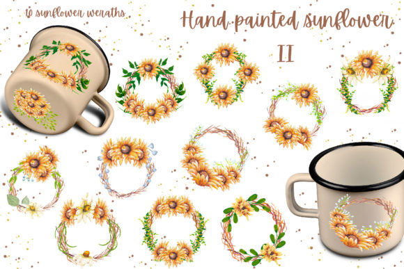 Hand Painted Sunflower Collection II Graphic Design