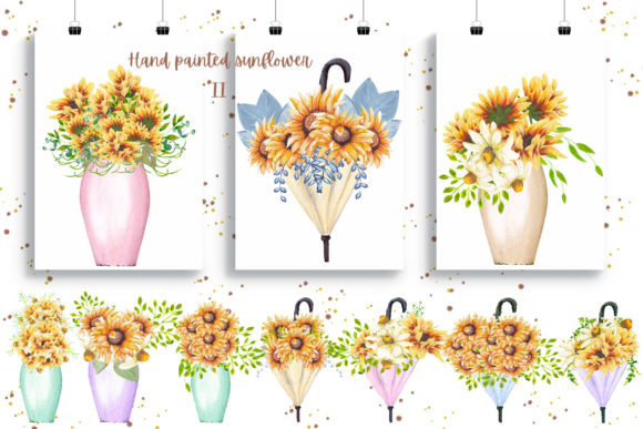 Hand Painted Sunflower Collection II Graphic Preview
