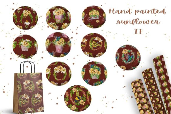 Hand Painted Sunflower Collection II Graphic Image