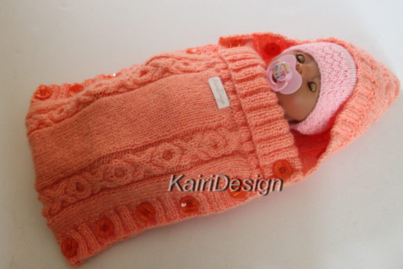 Hand Knitting PDF-Baby Doll Sleeping Bag Graphic Knitting Patterns By Kairi Mölder