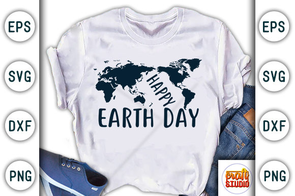 Download Free Happy Earth Day Design Graphic By Craftstudio Creative Fabrica for Cricut Explore, Silhouette and other cutting machines.