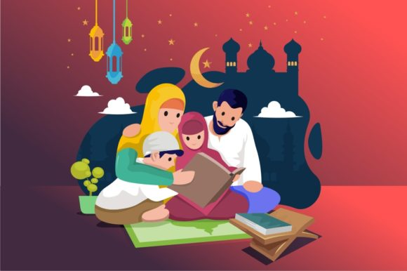 Happy Muslim Family Learning the Quran Graphic Illustrations By onoborgol