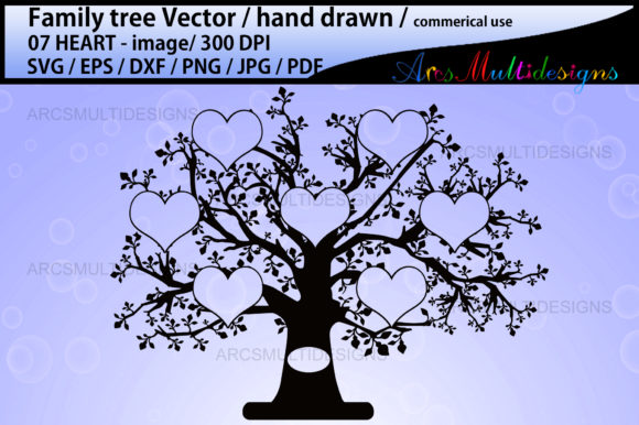 Download Free Hearts Family Tree Graphic By Arcs Multidesigns Creative Fabrica SVG Cut Files