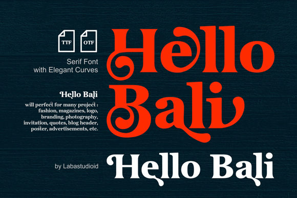Download Free Hellobali Font By Labastudioid Creative Fabrica for Cricut Explore, Silhouette and other cutting machines.