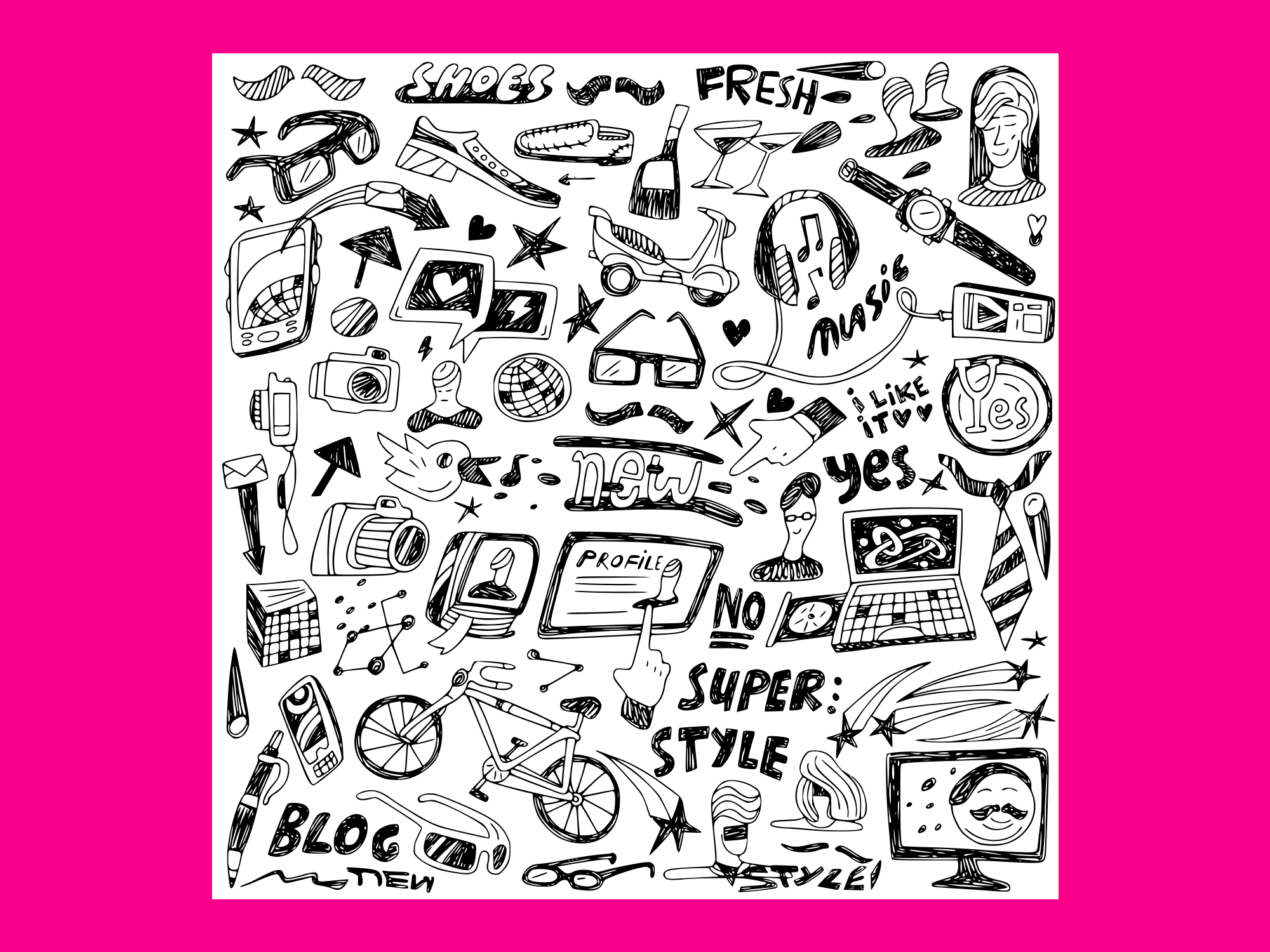 Download Free Hipsters Doodles 1 Grafik Von Anrasoft Creative Fabrica for Cricut Explore, Silhouette and other cutting machines.