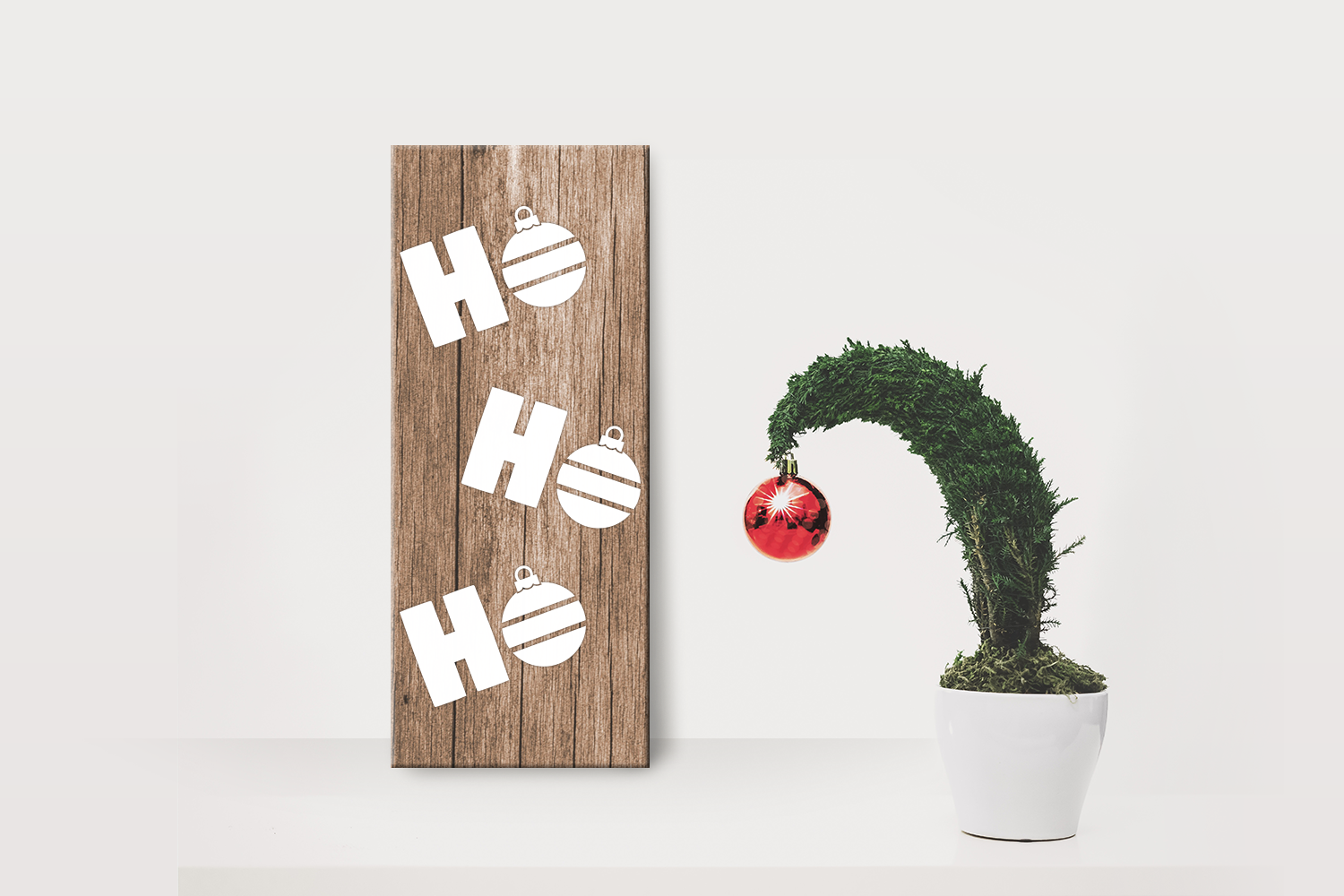 Download Free Hohoho Christmas Ornament Porch Sign Graphic By Designedbygeeks for Cricut Explore, Silhouette and other cutting machines.