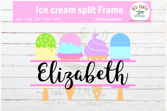 Ice Cream Split Monogram Frame Graphic Crafts By redearth and gumtrees
